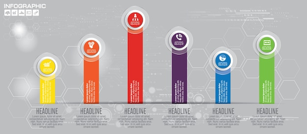 Timeline 6 options or steps vector infographic.