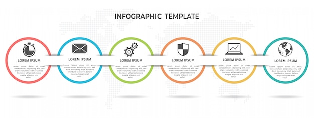 Современный круг timeline инфографики шаблон 6 вариантов