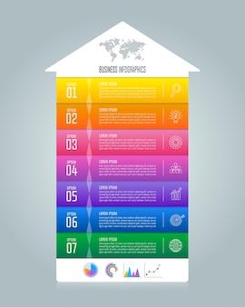 Концепция инфографического бизнеса timeline с 7 вариантами.