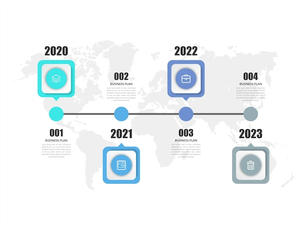 タイムラインの抽象的なインフォグラフィック要素のビジネス戦略
