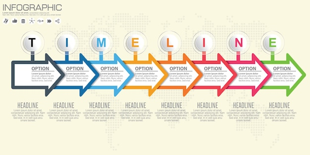 Timeline and arrow infographic. world map background