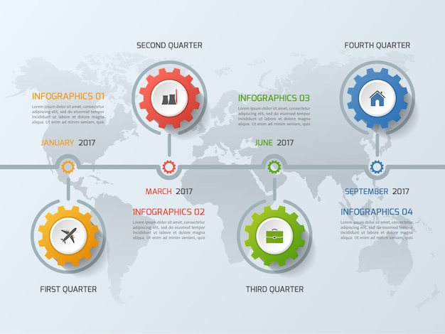 Timeline business infographic template with gears cogwheels