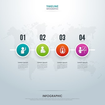 Timeline business infographic with four steps