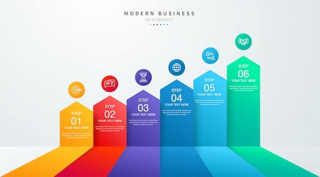 단계 및 옵션 6 옵션과 타임 라인 비즈니스 인포 그래픽. 차트 및 그래프, 웹 데이터 보고서 및 프리젠 테이션