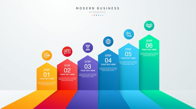 Timeline  business infographic   with  steps and options six options. chart and graph, web data report and presentation