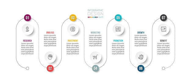 タイムラインチャートビジネスインフォグラフィックテンプレート。