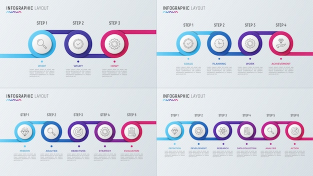 Timeline chart infographic designs for data visualization