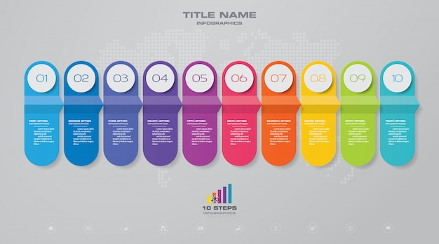 Timeline chart infographic element.