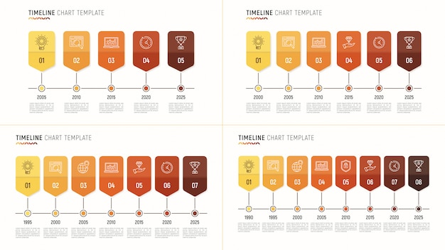 Timeline chart infographic template for data visualization. 8 st