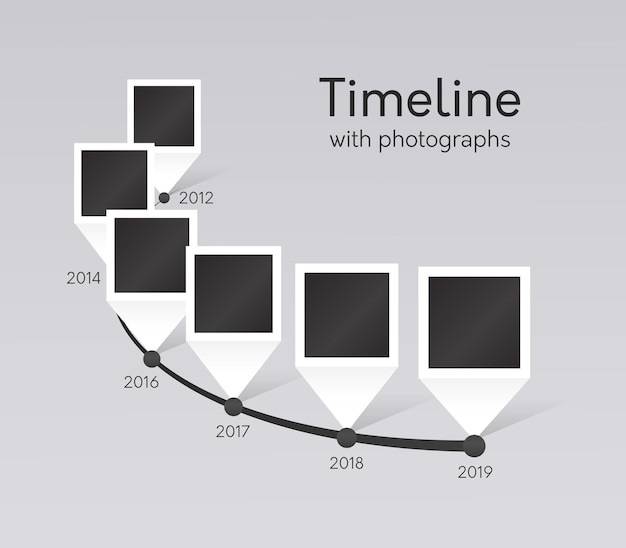Timeline of company milestones with photographs from last years. history path with report about events, display overview of important dates with photo