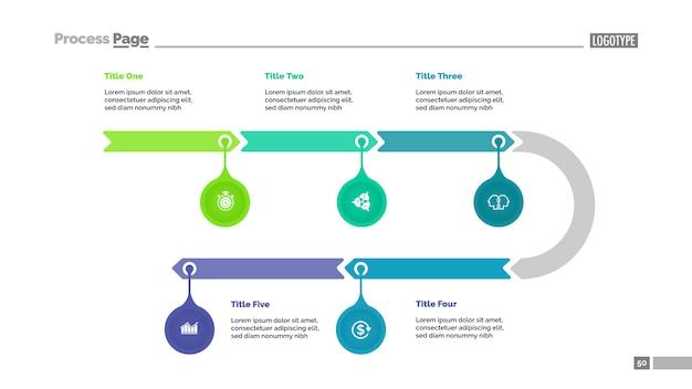 5 단계의 타임 라인 다이어그램. 화살표 차트, 마크 포인터, 편집 가능한 템플릿.