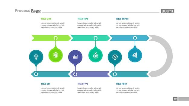6 단계로 구성된 타임 라인 다이어그램. 화살표 차트, 마크 포인터, 편집 가능한 템플릿.