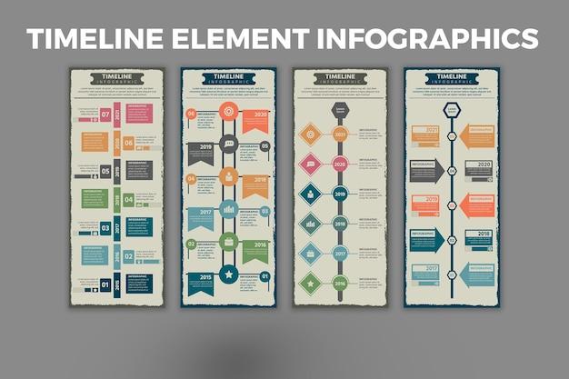 タイムライン要素のインフォグラフィックテンプレート