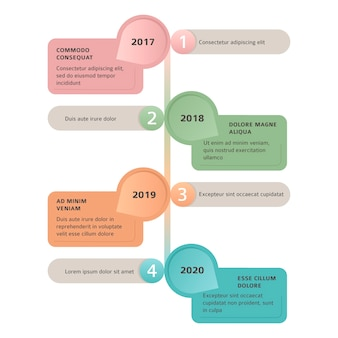 Timeline flat infographic template