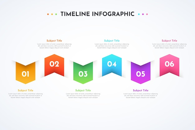 Modello di progettazione infografica gradiente timeline