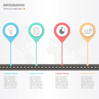 Timeline ifographic with road and locations