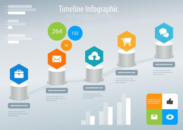 タイムライン情報グラフィック。