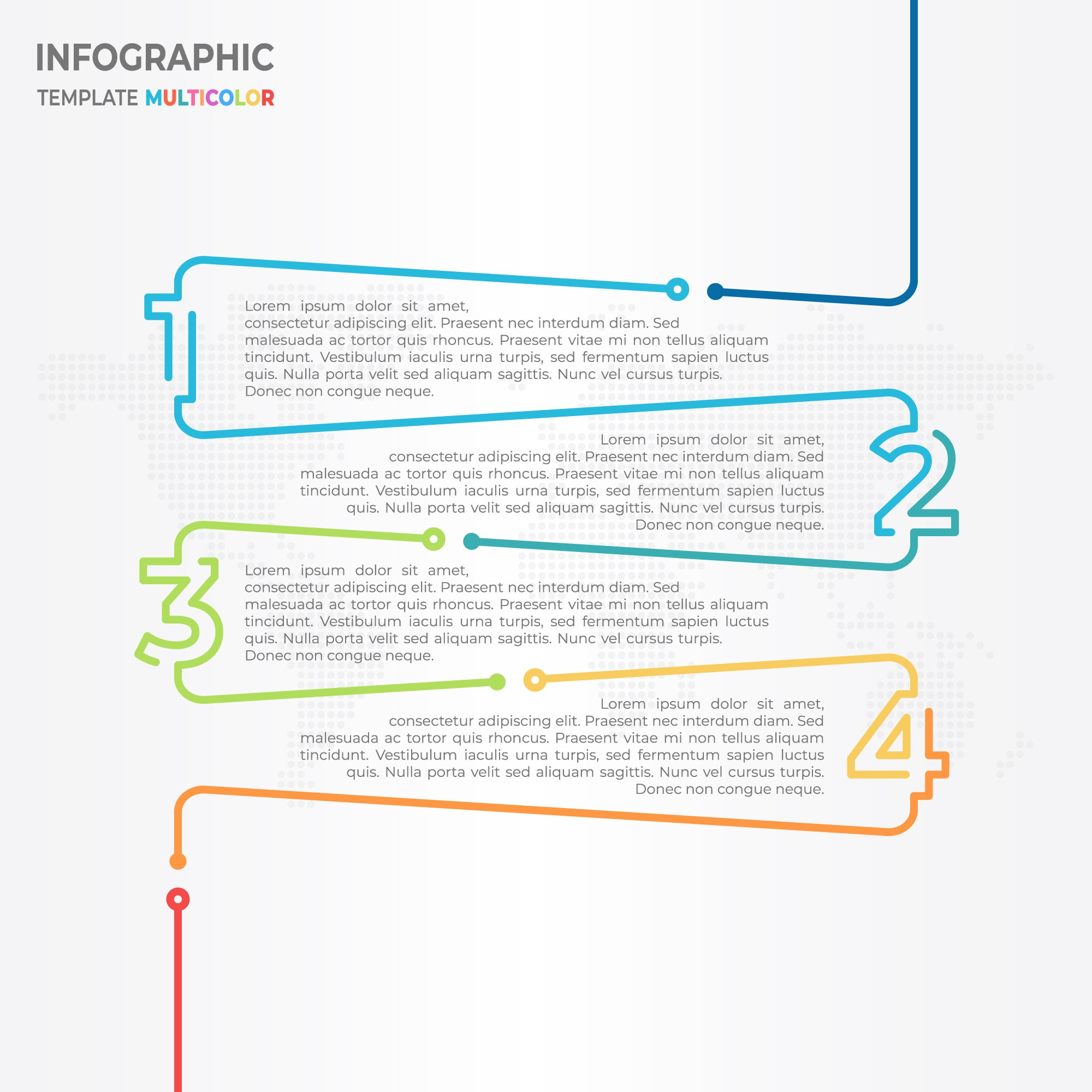 Timeline infographic 4 options, number with thin line style