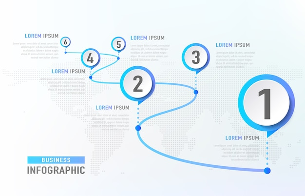 Хронология инфографики 6 вех, как дорога. бизнес-концепция инфографики шаблон.