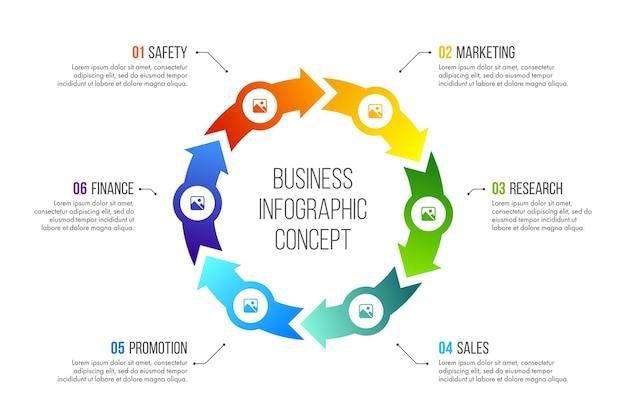 タイムラインのインフォグラフィック。 6つのオプション、ステップ、またはプロセスを備えたビジネスコンセプト。