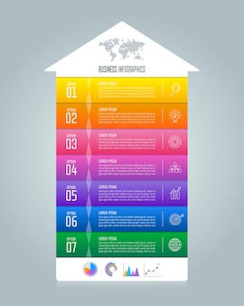 Timeline infographic business concept with 7 options.