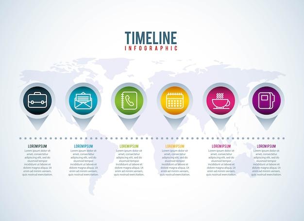 타임 라인 infographic 비즈니스 세계지도 포인터