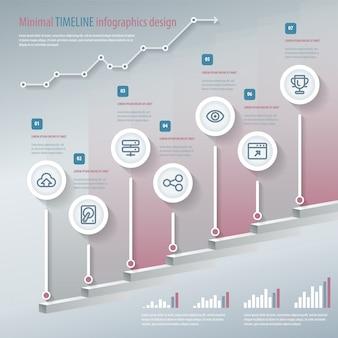 타임 라인 인포 그래픽. 워크 플로 레이아웃, 배너, 다이어그램, 숫자 옵션, 스텝 업 옵션, 웹에 사용할 수 있습니다. 디자인 템플릿.