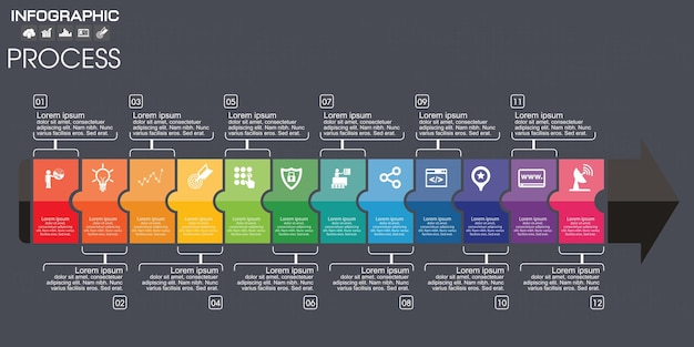 多くの色のタイムラインインフォグラフィックチャート。ベクトルデザインテンプレート。