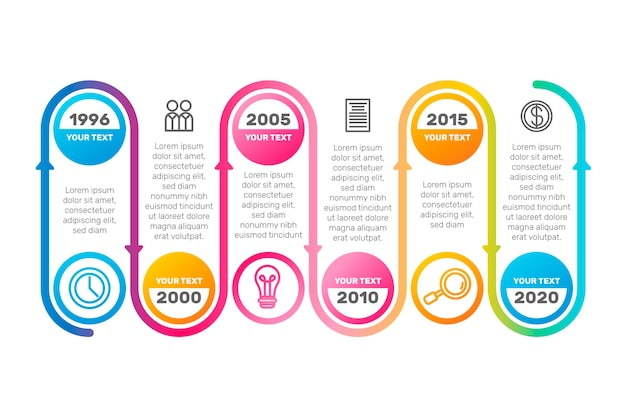 Timeline infographic collection template concept
