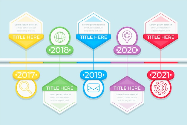 Timeline infographic concept with progress