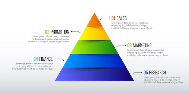 タイムラインのインフォグラフィックデザイン。 5つのオプション、ステップ、またはプロセスを備えたビジネスコンセプト。