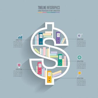 5つのオプションを持つタイムラインのインフォグラフィックデザインのビジネスコンセプト。