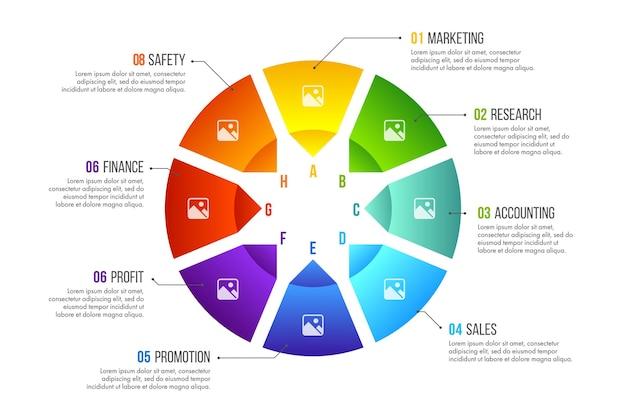 타임 라인 인포 그래픽 디자인. 8 가지 옵션, 단계 또는 프로세스가있는 비즈니스 개념.