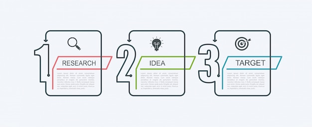 ステップ構造のタイムラインインフォグラフィックデザインテンプレート。 3つのオプションの部分または手順のビジネスコンセプトです。ブロック図、情報グラフ、プレゼンテーションバナー、ワークフロー。