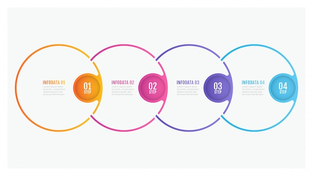 Timeline infographic design thin line circle elements and number options. business concept with 4 steps.