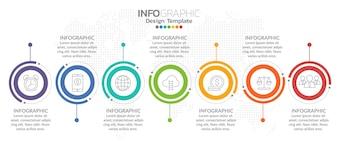 タイムラインのインフォグラフィックデザインベクトルとマーケティングのアイコン
