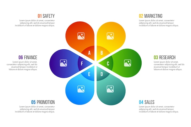 タイムラインインフォグラフィックデザインベクトルは、ワークフローレイアウト、図、年次報告書、webデザインに使用できます。 6つのオプション、ステップ、またはプロセスを備えたビジネスコンセプト。