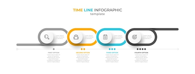 Timeline infographic design with 4 options or steps
