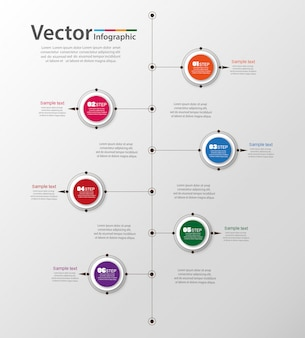 Timeline infographic design    with 6 steps