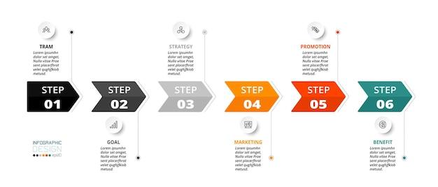 단계 또는 옵션이있는 타임 라인 인포 그래픽 요소