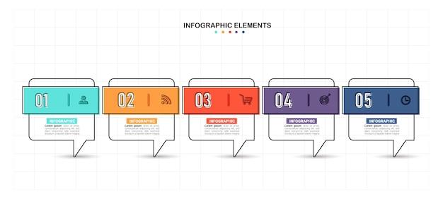 タイムラインインフォグラフィック5ステップテンプレート