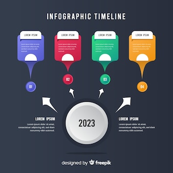 Timeline infographic in flat design