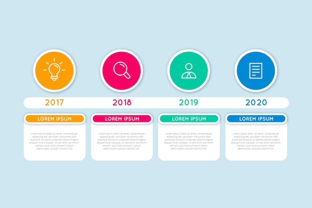 異なる年のタイムラインインフォグラフィック