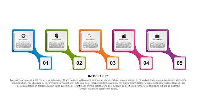 プレゼンテーションと情報バナーのタイムラインインフォグラフィック