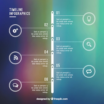 Timeline infographic on gradient bacground