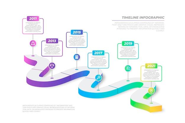 タイムラインのインフォグラフィックグラデーションデザイン