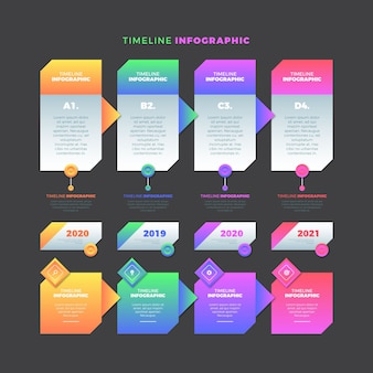 Timeline infographic gradient template