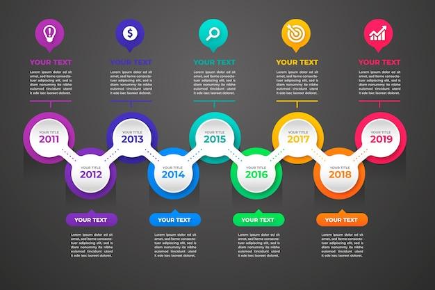 Timeline infographic gradient