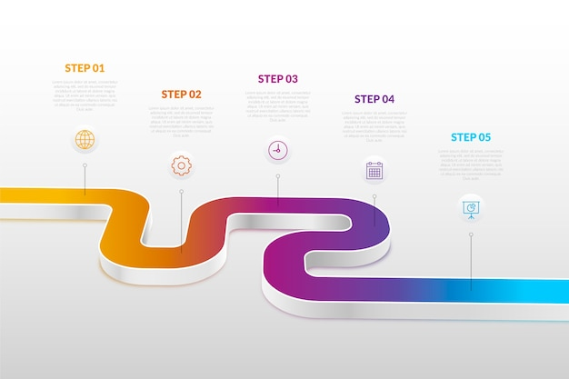 Timeline infographic in gradient
