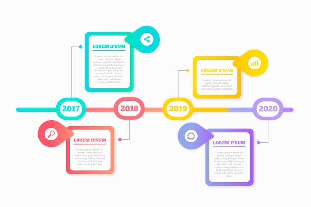 Хронология инфографики в плоском дизайне